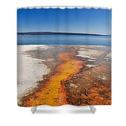 Yellowstone Lake And West Thumb Geyser Flow Shower Curtain