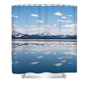 Yellowstone Lake Reflection Shower Curtain