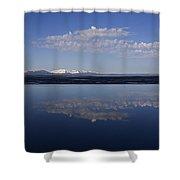 Yellowstone Lake Reflection-signed-no Bird Shower Curtain