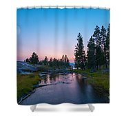 Yellowstone National Park Sunset And Moon Shower Curtain
