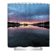 Yellowstone River Sunrise Colors Shower Curtain