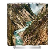 Yellowstone Waterfalls Shower Curtain