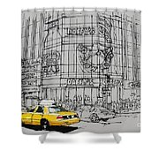 Yelow Cab On New York Streets Shower Curtain