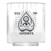 Yes No Goodbye Magic Ouija Vintage Planchette Design Shower Curtain