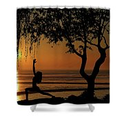 Yoga By The Bay At Sunset Shower Curtain