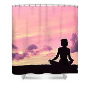 Yoga On Beach Shower Curtain