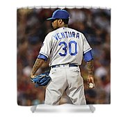 Kansas City Royals, Yordano Ace Ventura,  Painting, Forever Blue Shower Curtain
