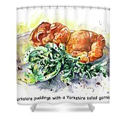Yorkshire Puddings With Yorkshire Salad Garnish Shower Curtain