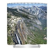 Yosemite Falls And Valley From Eagle Tower Detail - Yosemite Shower Curtain