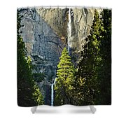 Yosemite Falls With Late Afternoon Light In Yosemite National Park. Shower Curtain