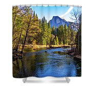 Yosemite Merced River With Half Dome Shower Curtain