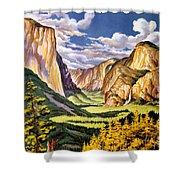 Yosemite National Park Vintage Poster Shower Curtain