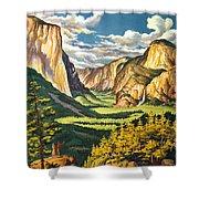 Yosemite Park Vintage Poster Shower Curtain