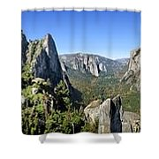 Yosemite Valley Panorama From Union And Glacier Points Shower Curtain