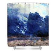 Yosemite Valley Twin Peaks Shower Curtain