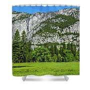 Yosemite West Valley Meadow Panorama #2 Shower Curtain