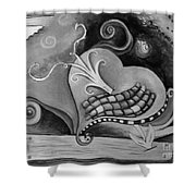 You Caught My Heart Black White Shower Curtain