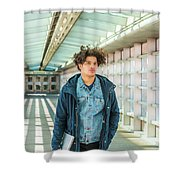 Young American College Student In New York Shower Curtain