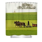 Young Amish Farmer Shower Curtain