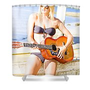 Young Attractive Blonde Woman Playing Guitar Shower Curtain
