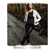 Young Attractive Woman Standing In The Wet Cobblestone Reber All Shower Curtain