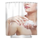 Young, Attractive Woman Using A Moisturizer. Shower Curtain