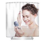 Young Beautiful Woman Applying Powder On Her Skin. Shower Curtain