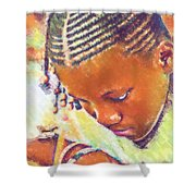 Young Black Female Teen 2 Shower Curtain