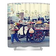 Young Boy Fruit Seller Shower Curtain