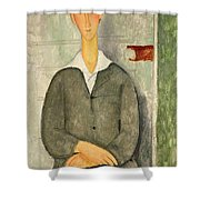Young Boy With Red Hair Shower Curtain by Amedeo Modigliani
