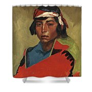 Young Buck Of The Tesuque Pueblo Shower Curtain