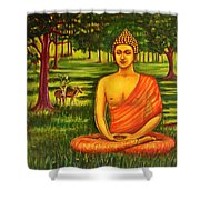 Young Buddha Meditating In The Forest Shower Curtain
