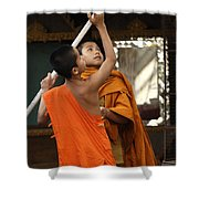 Young Buddhist Monks Laos Shower Curtain
