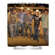 Young Bull Riders Portrait Shower Curtain