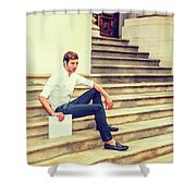 Young Businessman Sitting On Stairs, Relaxing Outside Shower Curtain