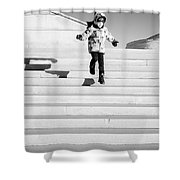 Young Child Jumping Down Steps Shower Curtain