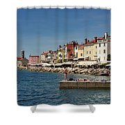 Young Couple Fishing Reading Sunbathing On Dock At Piran Sloveni Shower Curtain