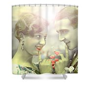Young Couple Flirting Shower Curtain