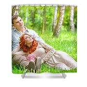 Young Couple In The Park Shower Curtain