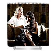 Young Couple Outdoors At A Mansion On A Couch In Harsh High Cont Shower Curtain