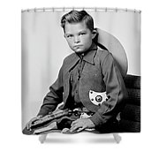 Young Cowboy Sitting Shower Curtain