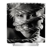 Young Expressive Woman Tied In Ropes Shower Curtain