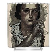 Young Faces From The Past Series By Adam Asar, No 112 Shower Curtain