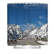 Young Family Bicycling Shower Curtain