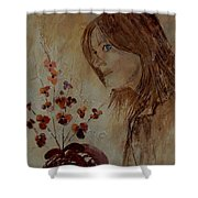 Young Girl And Flowers  Shower Curtain