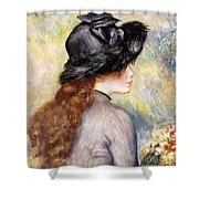 Young Girl Holding A Bouquet Of Tulips, Shower Curtain