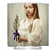 Young Girl Holding Lavender Shower Curtain