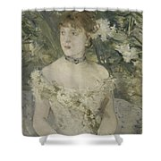 Young Girl In A Ball Gown By Berthe Morisot Shower Curtain