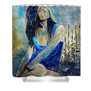 Young Girl In Blue Shower Curtain