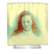 Young Girl In High Collared White Blouse Shower Curtain